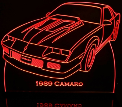 1989 Chevrolet Camaro Acrylic Z28  Lighted Edge Lit LED Sign / Light Up Plaque Chevy Size Made in USA