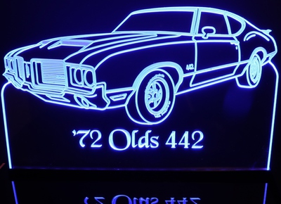 1972 Olds Cutlass 442 Acrylic Lighted Edge Lit LED Sign / Light Up Plaque Oldsmobile Full Size Made in USA