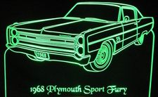 1968 Plymouth Sport Fury Acrylic Lighted Edge Lit LED Sign / Light Up Plaque Full Size Made in USA
