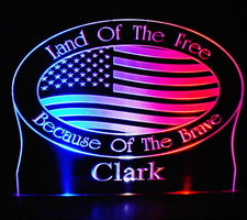 US Flag Land of the Free Acrylic Lighted Edge Lit LED Sign / Light Up Plaque Full Size Made in USA