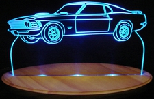 1970 Ford Mustang Mach 1 Boss 427 Acrylic Lighted Edge Lit LED Car Sign / Light Up Plaque 70