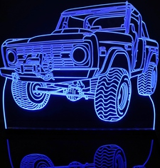 1970 Ford Bronco Pickup SUV Acrylic Lighted Edge Lit LED Sign / Light Up Plaque Full Size Made in USA