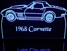 1968 Chevy Corvette Acrylic Lighted Edge Lit LED Sign / Light Up Plaque Full Size Made in USA