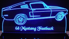 1968 Ford Mustang Fastback Acrylic Lighted Edge Lit LED Sign / Light Up Plaque Full Size Made in USA