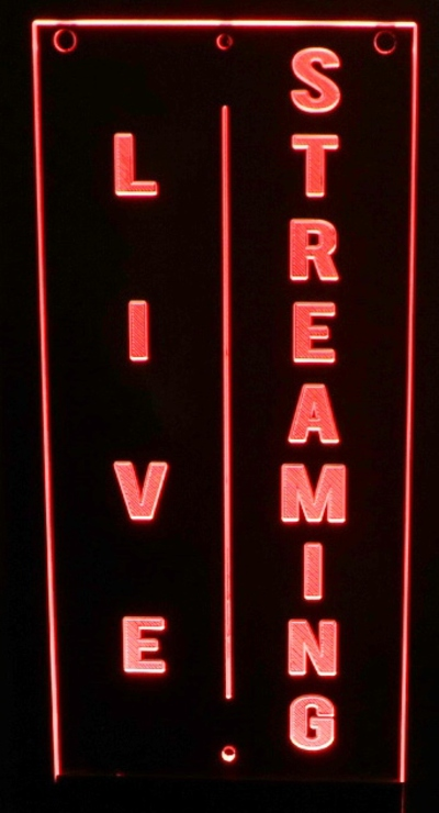 Live Streaming recording sign Acrylic Lighted Edge Lit LED Sign / Light Up Plaque Full Size Made in USA