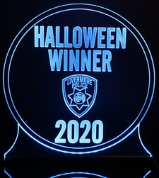 Trophy Halloween sample Acrylic Lighted Edge Lit LED Sign / Light Up Plaque Full Size Made in USA