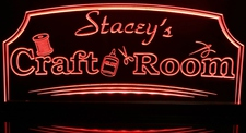 Crafts Sewing Hobby Room (add your name) Acrylic Lighted Edge Lit LED Sign / Light Up Plaque Full Size Made in USA
