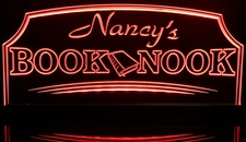 Book Nook Reading Room (add your name) Acrylic Lighted Edge Lit LED Sign / Light Up Plaque Full Size Made in USA