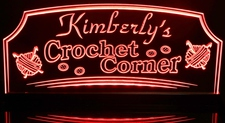 Crochet Sewing Craft Corner Room (add your name) Acrylic Lighted Edge Lit LED Sign / Light Up Plaque Full Size Made in USA