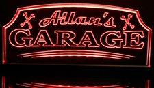 Garage with tools sign wrenches man cave (add your name) Acrylic Lighted Edge Lit LED Sign / Light Up Plaque Full Size Made in USA