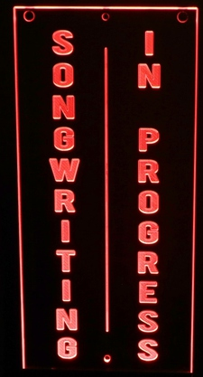 Songwriting In Progress Recording Studio Acrylic Lighted Edge Lit LED Sign / Light Up Plaque Full Size Made in USA