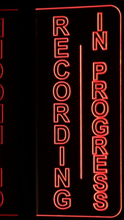 Recording In Progress Music Studio Acrylic Lighted Edge Lit LED Sign / Light Up Plaque Full Size Made in USA