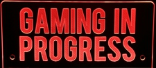 Gaming In Progress Recording Music Studio Acrylic Lighted Edge Lit LED Sign / Light Up Plaque Full Size Made in USA