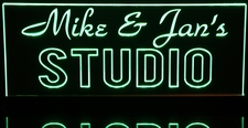 Studio Music Recording Sign (add your own text) Acrylic Lighted Edge Lit LED Sign / Light Up Plaque Full Size Made in USA