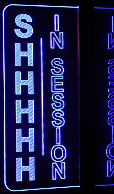 IN SESSION SHHHHH Recording Music Studio Sign Acrylic Lighted Edge Lit LED Sign / Light Up Plaque Full Size Made in USA