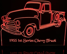 1955 Chevy Pickup 1st Series Acrylic Lighted Edge Lit LED Sign / Light Up Plaque Full Size Made in USA