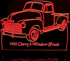 1953 Chevy Pickup 5 window no spare Acrylic Lighted Edge Lit LED Sign / Light Up Plaque Full Size Made in USA