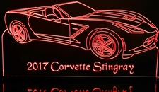 2017 Corvette Stingray Convertible Acrylic Lighted Edge Lit LED Sign / Light Up Plaque Full Size Made in USA