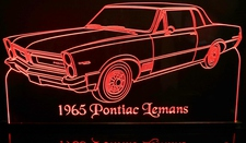 1965 Pontiac Lemans Acrylic Lighted Edge Lit LED Sign / Light Up Plaque Full Size Made in USA