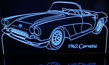 1962 Corvette Acrylic Lighted Edge Lit LED Sign / Light Up Plaque Full Size Made in USA