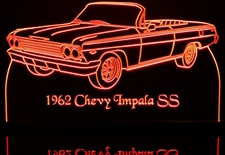 1962 Impala SS Convertible Acrylic Lighted Edge Lit LED Sign / Light Up Plaque Full Size Made in USA