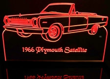 1966 Satellite Acrylic Lighted Edge Lit LED Sign / Light Up Plaque Full Size Made in USA