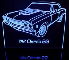 1967 Chevelle Acrylic Lighted Edge Lit LED Sign / Light Up Plaque Full Size Made in USA