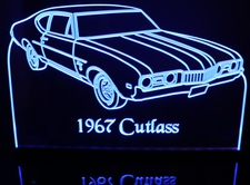 1967 Cutlass Acrylic Lighted Edge Lit LED Sign / Light Up Plaque Full Size Made in USA
