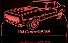 1968 Camaro RS SS Acrylic Lighted Edge Lit LED Sign / Light Up Plaque Full Size Made in USA