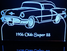 1956 Olds Super 88 convertible Acrylic Lighted Edge Lit LED Sign / Light Up Plaque Full Size Made in USA