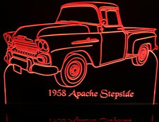 1958 Apache Stepside no spare Acrylic Lighted Edge Lit LED Sign / Light Up Plaque Full Size Made in USA