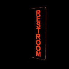 "Restroom Double Sided 16"" Only Ladies Mens Gents Womens Bathroom Toilet Acrylic Lighted Edge Lit LED Sign / Light Up Plaque Full Size Made in USA"