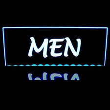 Men Ladies Restroom Mens Gents Women Bathroom Desk Mount Shown Acrylic Lighted Edge Lit LED Sign / Light Up Plaque Full Size Made in USA