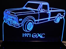 1971 GMC Pickup Truck Acrylic Lighted Edge Lit LED Sign / Light Up Plaque 71