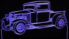 1930 Ford Pickup Model A Acrylic Lighted Edge Lit LED Car Sign / Light Up Plaque