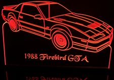 1988 Pontiac Firebird GTA Acrylic Lighted Edge Lit LED Car Sign / Light Up Plaque