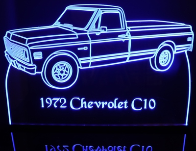 1972 Chevy Cheyenne Pickup Truck C10 Acrylic Lighted Edge Lit LED Sign / Light Up Plaque Full Size Made in USA