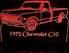 1970 Chevy Pickup C10 Acrylic Lighted Edge Lit LED Sign / Light Up Plaque Full Size Made in USA