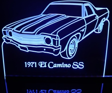 1971 El Camino SS Acrylic Lighted Edge Lit LED Sign / Light Up Plaque Full Size Made in USA