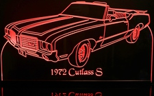1972 Olds Cutlass S Conv Acrylic Lighted Edge Lit LED Sign / Light Up Plaque Full Size Made in USA