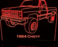 1984 Chevy Pickup Acrylic Lighted Edge Lit LED Sign / Light Up Plaque Full Size Made in USA