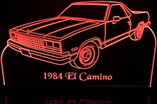 1984 El Camino Acrylic Lighted Edge Lit LED Sign / Light Up Plaque Full Size Made in USA
