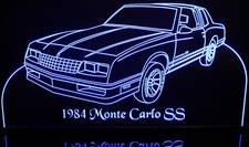 1984 Monte Carlo SS Acrylic Lighted Edge Lit LED Sign / Light Up Plaque Full Size Made in USA