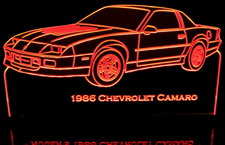 1986 Camaro Acrylic Lighted Edge Lit LED Sign / Light Up Plaque Full Size Made in USA
