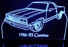 1986 El Camino Acrylic Lighted Edge Lit LED Sign / Light Up Plaque Full Size Made in USA