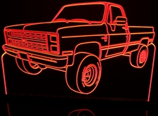 1987 Chevy Pickup Acrylic Lighted Edge Lit LED Sign / Light Up Plaque Full Size Made in USA