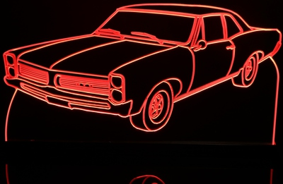 1965 GTO Acrylic Lighted Edge Lit LED Sign / Light Up Plaque Full Size Made in USA