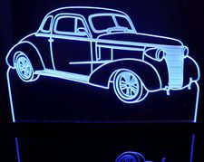 1938 Chevy 2 Door Coupe with quarter window Acrylic Lighted Edge Lit LED Sign / Light Up Plaque Full Size Made in USA