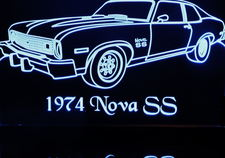 1974 Nova SS Acrylic Lighted Edge Lit LED Sign / Light Up Plaque Full Size Made in USA