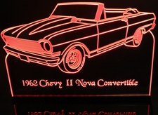 1962 Chevy II Nova Convertible Acrylic Lighted Edge Lit LED Sign / Light Up Plaque Full Size Made in USA